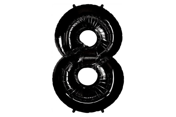 Black Foil Number '8' Balloon - 100cm - Pop Roc Parties