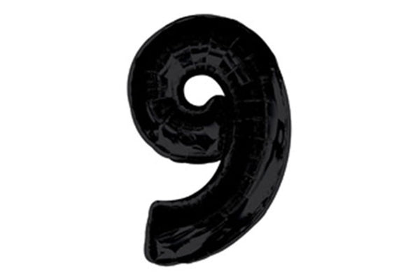Black Foil Number '9' Balloon - 100cm - Pop Roc Parties