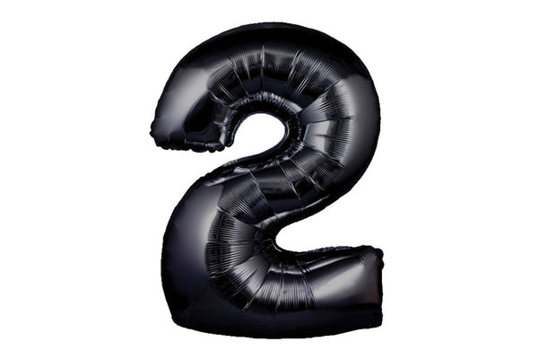 Black Foil Number '2' Balloon | Pop Roc Parties