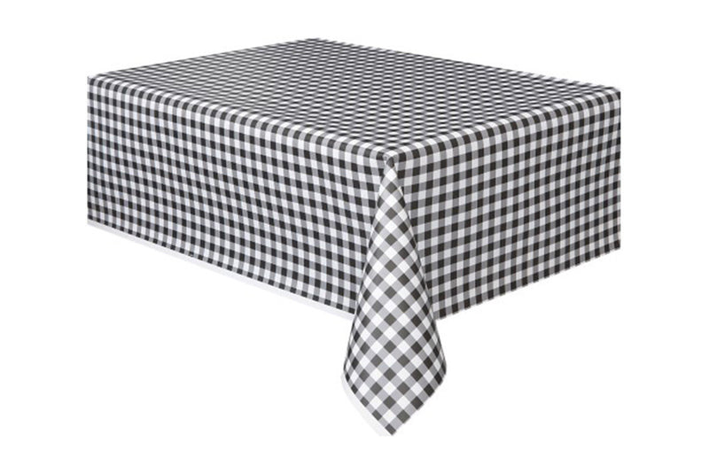 Black Gingham Table Cover - Pop Roc Parties