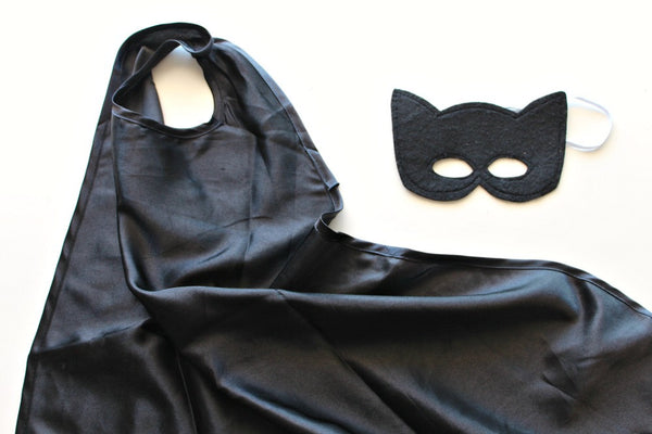 Black Superhero Cape & Mask - Pop Roc Parties