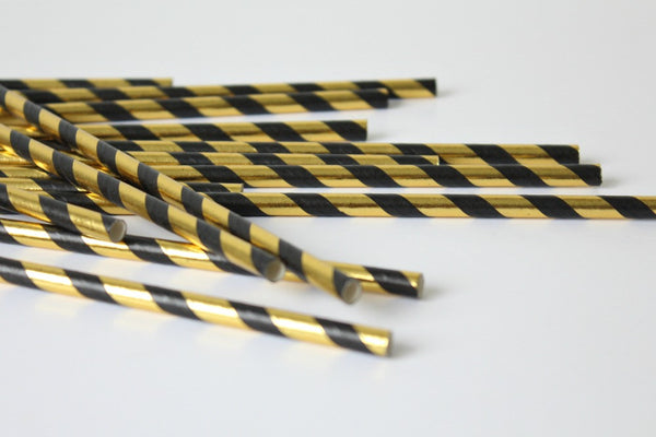 Black & Gold Foil Stripe Straws | Pop Roc Parties