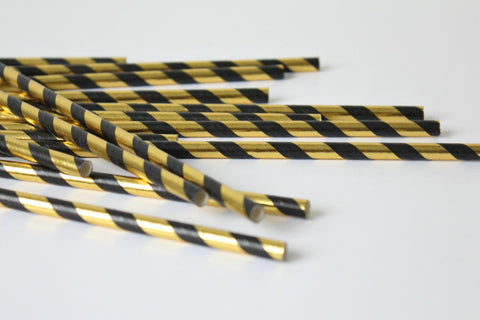 Black & Gold Foil Stripe Straws