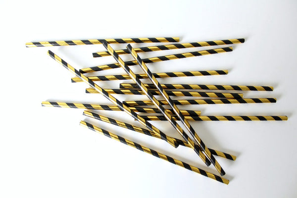 Black & Gold Foil Stripe Straws - Pop Roc Parties