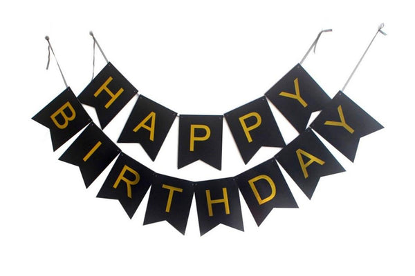Black & Gold 'Happy Birthday' Bunting | Pop Roc Parties