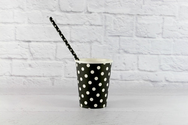 Black Polka Dot Paper Cups - Pop Roc Parties