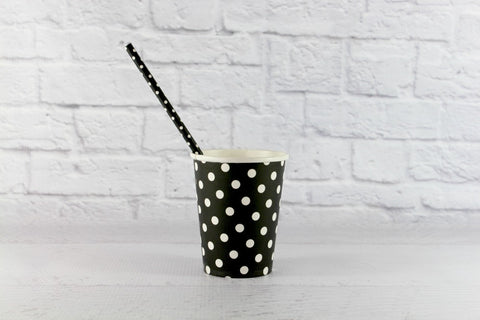 Black Polka Dot Paper Cups
