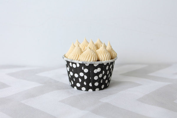 Black Polka Dot Cupcake Cups - Pop Roc Parties