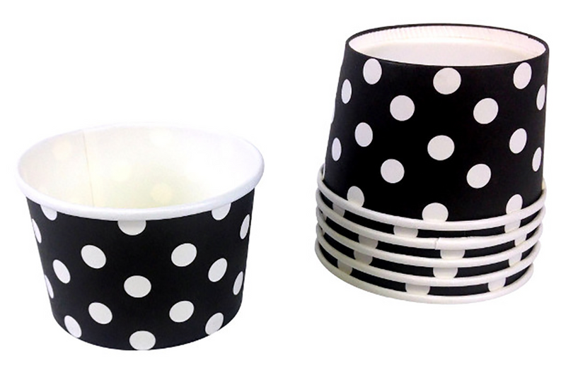 Black Polka Dot Ice Cream Cups | Pop Roc Parties