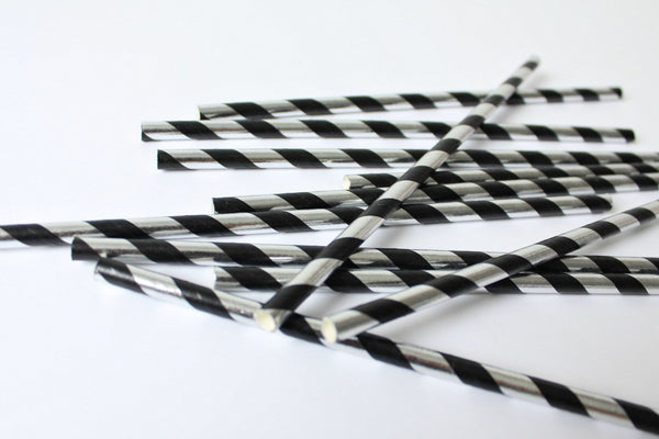 Black & Silver Foil Stripe Straws - Pop Roc Parties