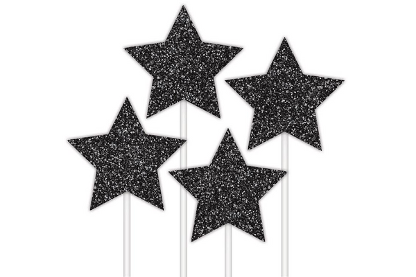 Black Stars Cake Topper - Pop Roc Parties