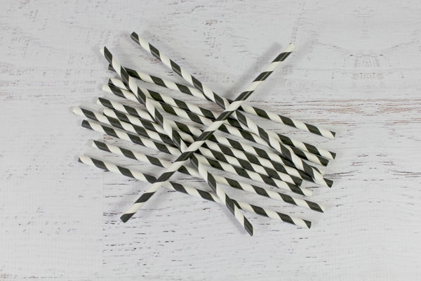 Black Stripe Paper Straws - Pop Roc Parties
