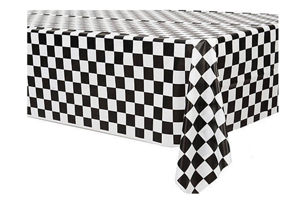 Checkered Black & White Table Cover | Pop Roc Parties