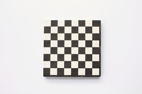 Black Checkered Paper Napkins - Pop Roc Parties