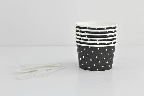 Black Polka Dot Ice Cream Cup Set