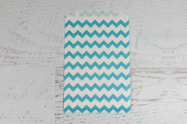 Blue Chevron Paper Bags - Pop Roc Parties