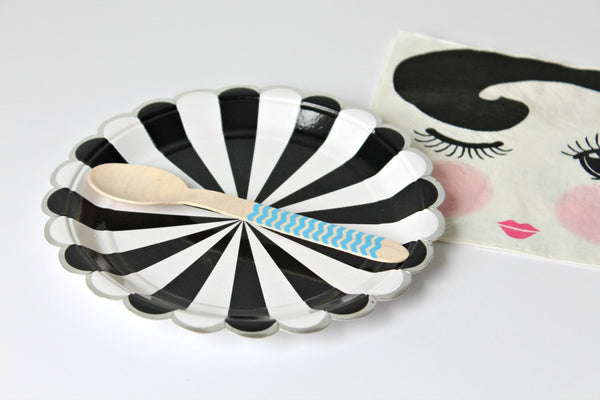 Toot Sweet Black Stripe Small Plates - Pop Roc Parties