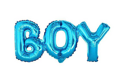 Blue 'BOY' Foil Balloon Banner | Pop Roc Parties