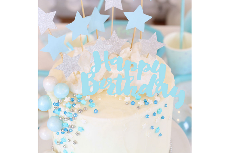 Blue 'Happy Birthday' Cake Topper - Pop Roc Parties