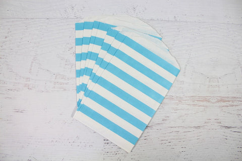 Blue Horizontal Stripe Paper Bags - Pop Roc Parties