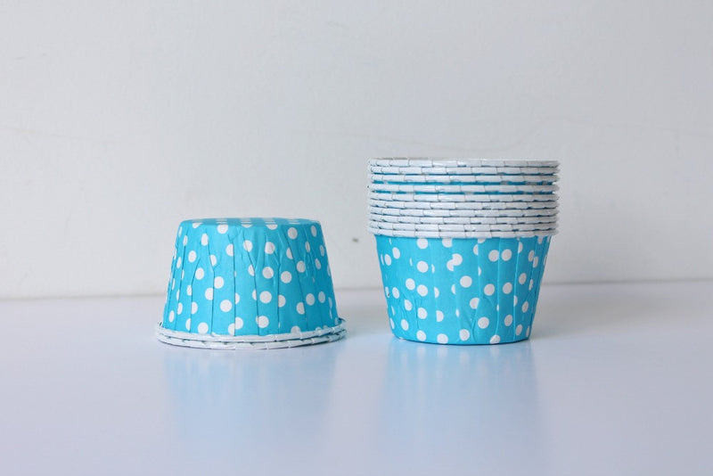 Light Blue Polka Dot Cupcake Cups | Pop Roc Parties