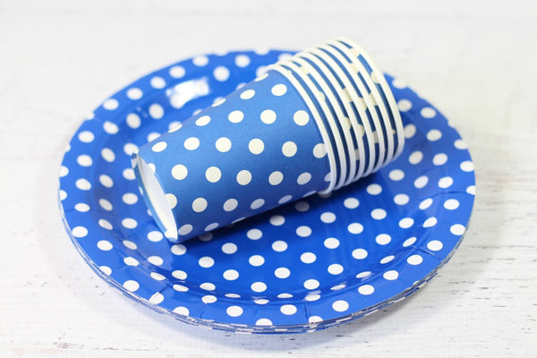 Blue Polka Dot Paper Plates - Pop Roc Parties