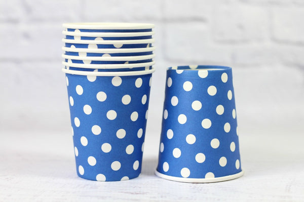 Blue Polka Dot Paper Cups - Pop Roc Parties