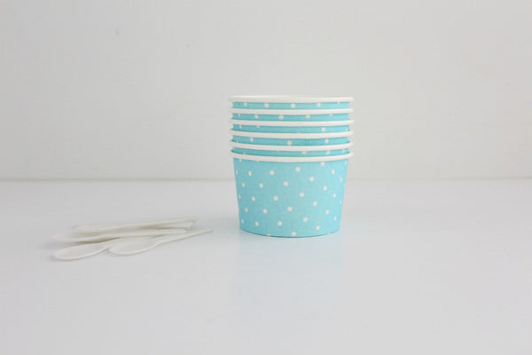 Light Blue Polka Dot Ice Cream Cup Set - Pop Roc Parties