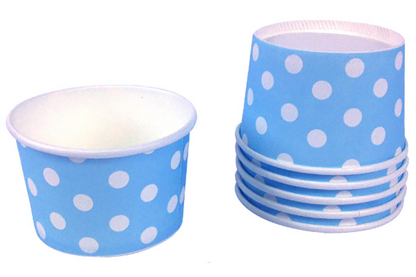 Blue Polka Dot Ice Cream Cups - Pop Roc Parties