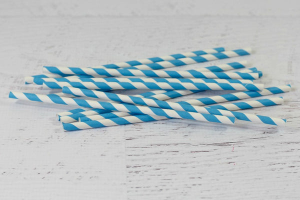 Blue Stripe Paper Straws | Pop Roc Parties