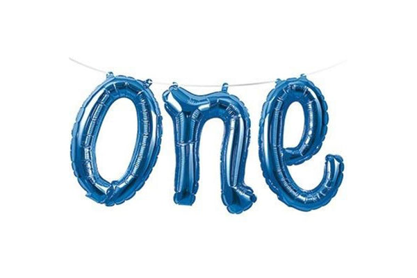 Blue Foil 'one' Balloon Banner | Pop Roc Parties