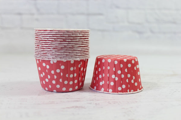 Blush Red Polka Dot Cupcake Cups | Pop Roc Parties