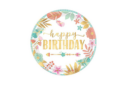 Boho Birthday Girl Party Plates | Pop Roc Parties