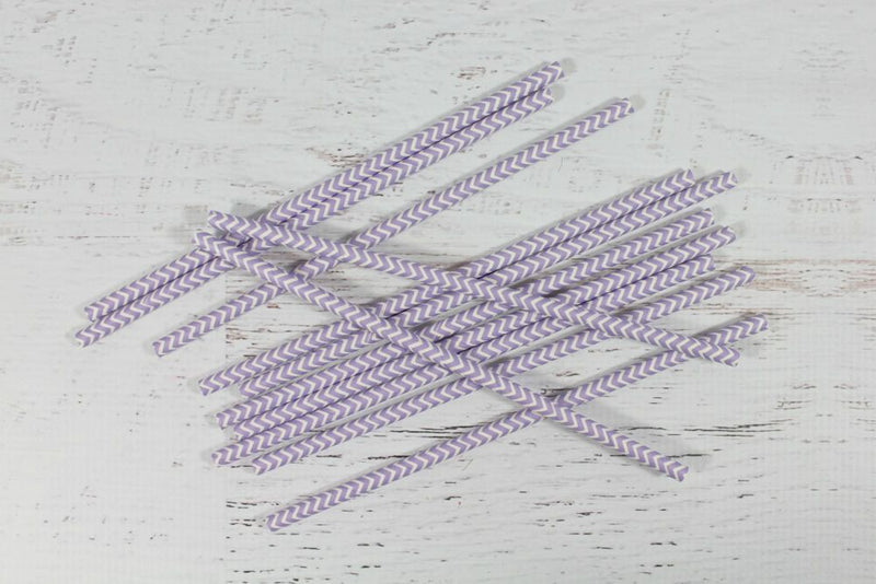 Lavender Chevron Paper Straws - Pop Roc Parties