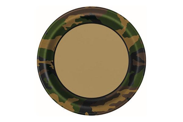 Army Camouflage Large Paper Plates | Pop Roc Parties