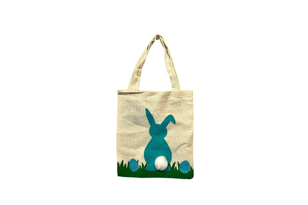 Canvas Easter Tote Bag - Turquoise-Pop Roc Parties