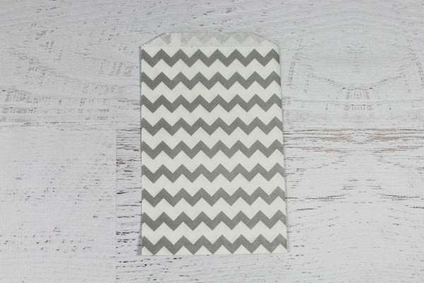 Grey Chevron Paper Bags - Pop Roc Parties