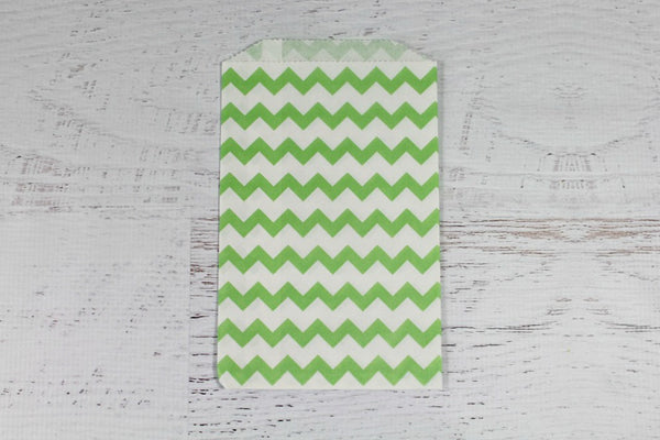 Green Chevron Paper Bags - Pop Roc Parties