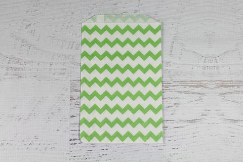 Green Chevron Paper Bags