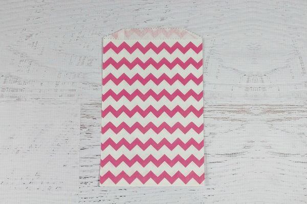 Pink Chevron Paper Bags - Pop Roc Parties
