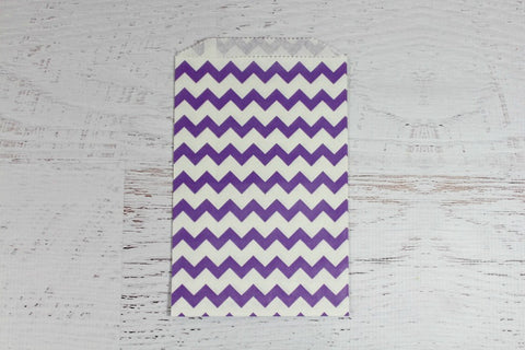 Purple Chevron Paper Bags