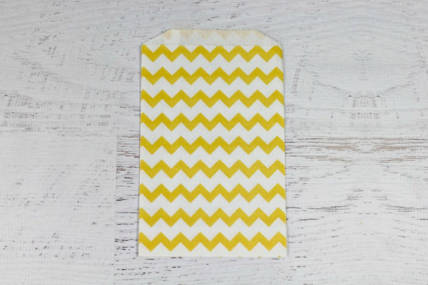 Yellow Chevron Paper Bags | Pop Roc Parties