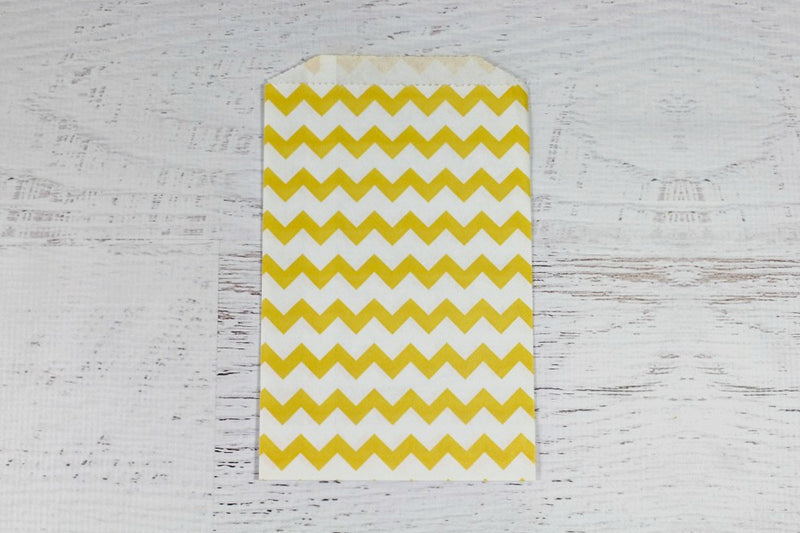 Yellow Chevron Paper Bags - Pop Roc Parties