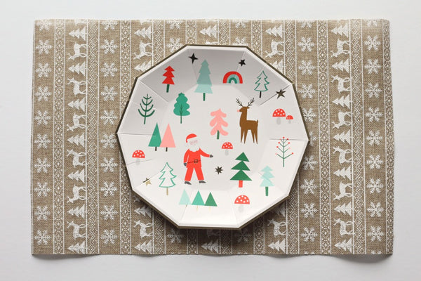 Christmas Icon Burlap Placemats - Pop Roc Parties