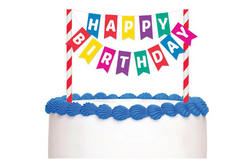 Colourful 'Happy Birthday' Bunting Cake Topper - Pop Roc Parties