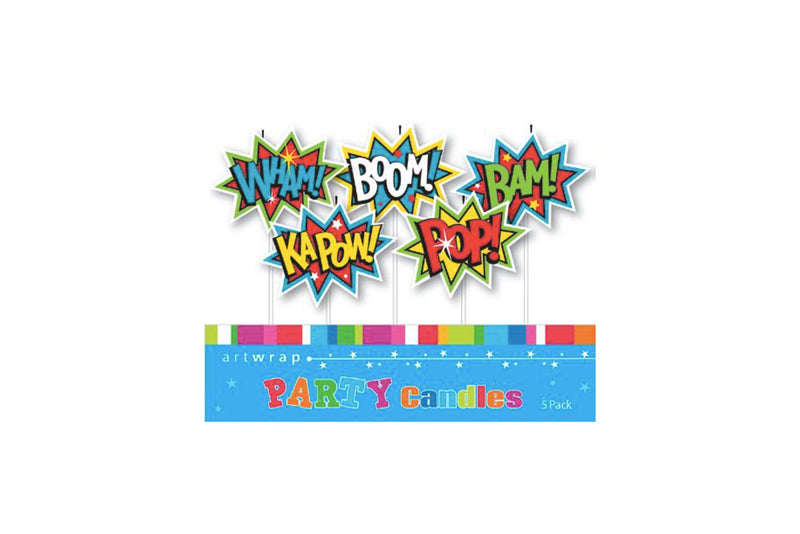 Comic Word Superhero Candles | Pop Roc Parties