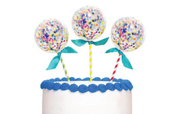 Confetti Balloon Cake Toppers - Pop Roc Parties