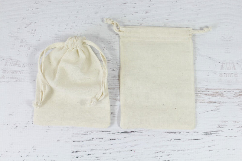 Natural Drawstring Cotton Bags | Pop Roc Parties
