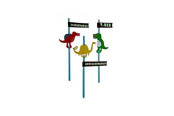 Dinosaur Straws with Name Flags - Pop Roc Parties