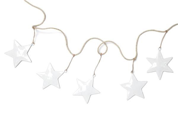 White Enamel Star Garland - Pop Roc Parties